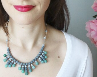 Green Gray Fringe Necklace - Green Quartz Necklace - Frosted Green Necklace - Summer Jewelry - Boho Chic Jewelry - Fringe Jewelry - Grey