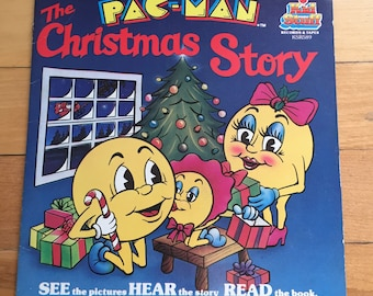 Vintage 1980s The Pac Man Christmas Story Book and Record Set!