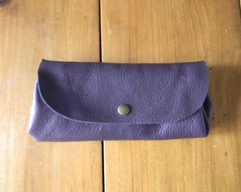 Hand made plum leather wallet