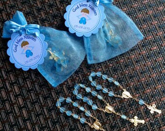 24 organza bags with mini rosaries included and thank you card- Boy Baptism favors- Christening Baptism girl favors -christening baptism boy