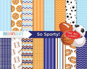Digital Paper - So Sporty, Scrapbook Paper, Digital Pattern, Commercial Use, JPEG, PDF