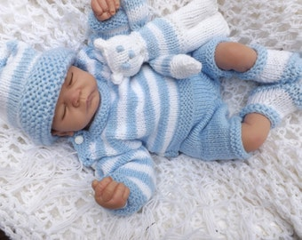 baby knitting pattern  striped sweater pants hat booties and teddy  prem to 2 yearsdk wool