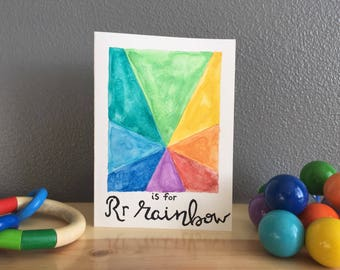 R is for Rainbow ~ hand painted card