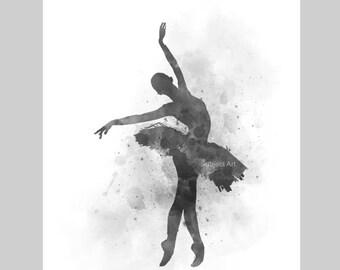 Ballerina 3 ART PRINT illustration, Black and White, Ballet Dancer, Dance, Wall Art, Home Decor, Gift