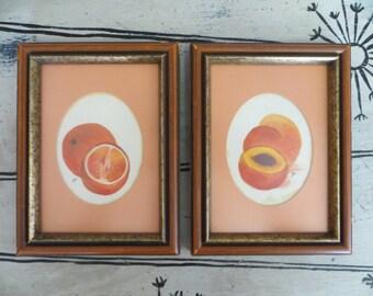 Peach and Orange Art Original Art Fruit Art Framed Art Kitchen Art Watercolor Art
