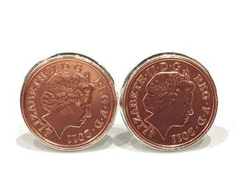 7th copper wedding anniversary cufflinks - Copper 1p coins from 2011 - Gift, 7th wedding anniversary for a wedding in 2011
