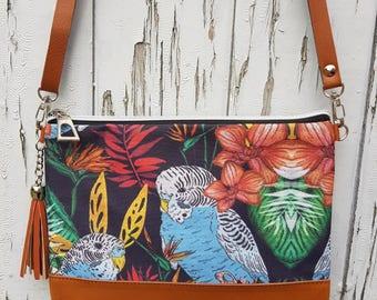 Tropical Budgie Handbag - Jungle Budgerigar Bird Bag Brown