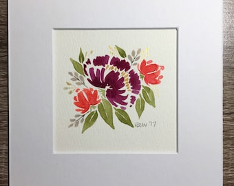 ORIGINAL Floral Watercolor Painting, Matted Watercolor painting