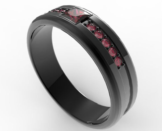 Princess Cut Ruby Black Gold Wedding Band For MenUnique Ring MensRuby MensBlack Mens