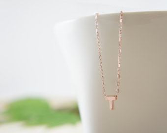 "Rose Gold Letter, Alphabet, Initial capital ""T"" necklace, birthday gift, lucky charm, layered necklace"
