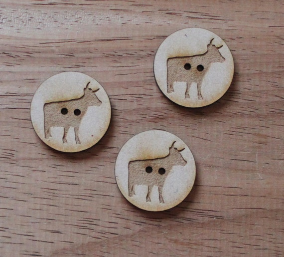 8 pieces. Cow Farmyard.Round Buttons,3 cm Buttons -Acrylic and Wood Laser Cut-Jewelry Supplies-Little Laser Lab Wood and Acrylic Products