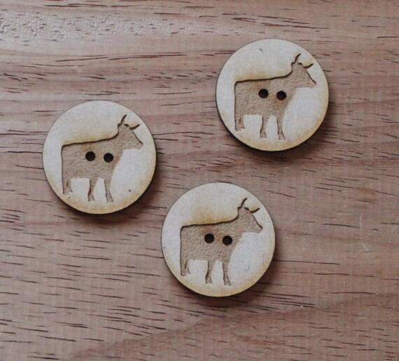 3 Craft Wood Cow Farmyard.Round Buttons, 3 cm Wide, Laser Cut Wood