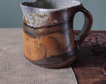 Ceramic creamer with abstract painted detail, handmade, wood fired  and salt fired pottery