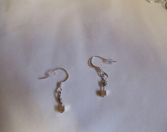 Cube Earrings on Silver Ear Wires, earrings, cube, dangle
