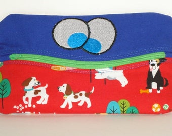 SMILING FUNNY EYES Pencil or phone Case with Puppy Dogs 100% cotton fabric nylon zipper closure