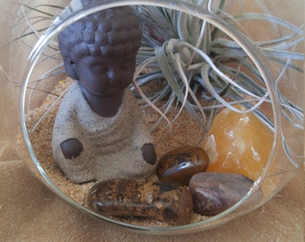 Terrarium with buddha, air plant and polished stones perfect for Mother's Day