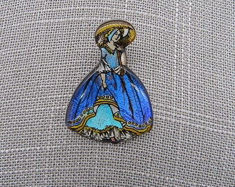 1920s Sterling silver Victorian crinoline lady butterfly wing signed brooch made in England Amazing !