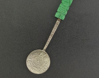 Ancient Mayan symbol sterling silver spoon with Jade handle