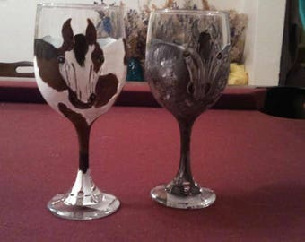 Hand painted glasses made to order, horses, goats, critters can be done from pics too
