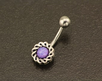 Elegant Purple Belly Button Ring. Silver Belly Button Jewelry. Dainty Stone Body Jewellery. Boho Navel Ring Piercing. Tribal Belly Piercing.