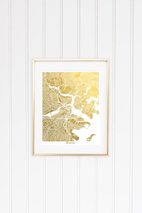 A Gold Foil Map of Boston Boston Print Boston Wall Art