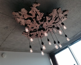 Custom to order Live Edge Wood Slab Light Fixture with Hanging Edison bulbs. Rustic. Industrial Chandelier