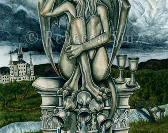 Five of Cups ORIGINAL PAINTING Tarot Card Gargoyle Gothic Fantasy Art Castle Wings Stone Statue Watercolor Clouds