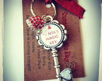 Magic Santa's Key Charm Key Ring - Can Be Personalised With Childs Name