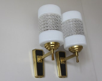 Pair of French Wall Sconces 1950s Mid Century Wall Lamps Ice Glass Opaque