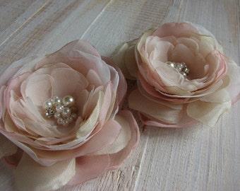 Champagne hair flower Blush hair flower Champagne wedding Blush wedding flower Champagne blush hair pin Ivory blush flower Blush hair pins