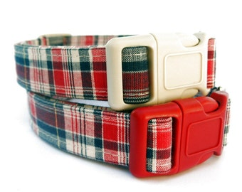 Plaid Dog Collar, Americana Plaid in Red, Off White and Navy Blue, Patriotic Plaid Dog Collar, Red White and Blue Plaid Dog Collar