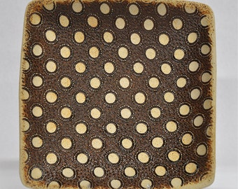 Square platter with polka dots