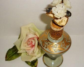 Vtg IRICE Seafoam Satin Glass Rhinestones Flowers Jeweled Perfume Bottle Collectible Vanity Decor Atomizer