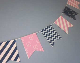 Nautical / Navy and Pink / Mini-Banner/ Bunting