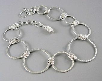 Silver Chain Bracelet, Nickel Free Jewelry, 25th Anniversary Gift, 925 Silver Bracelet, Adjustable Bracelet, Minimalist Jewelry
