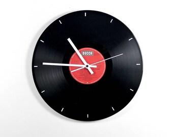 Vinyl wall clock: Decca Red. With a silent quartz movement. Vinyl wall Clock Decca red. With Silent Quartz clockwork