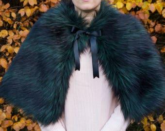 Luxury Black/Green Long Fur Cape // ladies winter faux fur capelet // limited edition soft fur cape