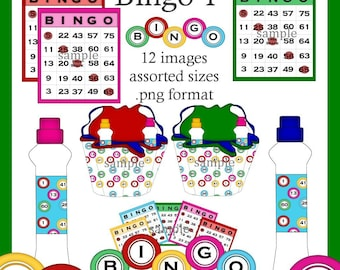 Bingo 1 - Digital Clipart Graphic Images for Scrapbooking and Paper Crafts