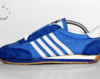 Vintage RoEm Sport Sneakers / Womens Trainers / Athletic Shoes / Suede Sneakers / like adidas kicks blue white / Taiwan 80s