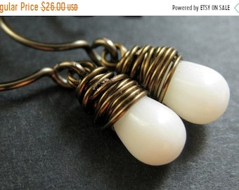 MOTHERS DAY SALE Bronze Earrings - White Coral Earrings. Wire Wrapped Earrings. White Teardrop Earrings. Handmade Jewelry.