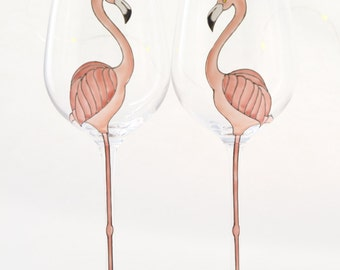 Flamingo Crystal WIne Glass