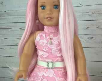 "Custom 10-11"" Doll Wig Fits Most 18"" Dolls Stunning ""Rose Petal"" - Heat Safe"