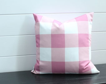 Pillow cover pink white buffalo check 18 inch 18x18 modern accessory home decor nursery baby gift zipper closure canvas ready to ship
