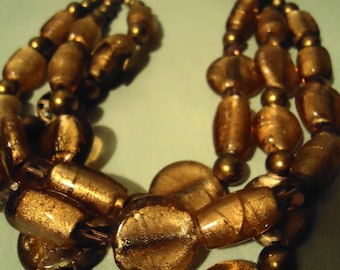 Boho Handcrafted One Of A Kind Copper Ice Gold BOLD 3-Strand Necklace
