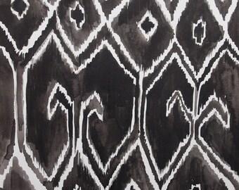 """Archival Print of Original Watercolor """"Black Ikat 1"""""""