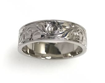 Hand Engraved Men's Wedding/Anniversary Band