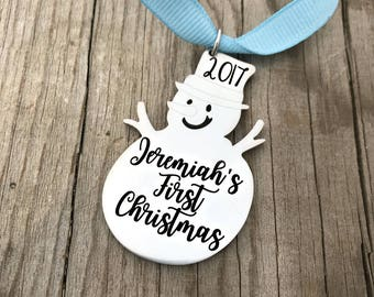 Baby's First Christmas Snowman Ornament - Engraved Ornament - Christmas Tree Ornament - First Christmas Ornament - New baby Ornament - 1447