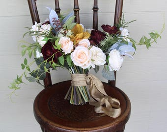RESERVED for Olivia - Autumn Fall Toned Lush Wedding Bouquet and Boutonniere Set