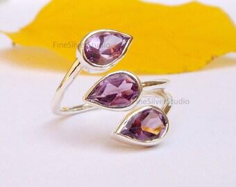 Purple Amethyst Silver Ring Pear Amethyst Gemstone Sterling Silver Amethyst Ring Birthstone Rings Statement Ring size 5 6 7 8 9 10 11