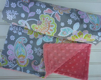 Minky baby blanket -Personalized girls coralminky baby blanket in pastel paisley-personalized minky baby blanket with applique name